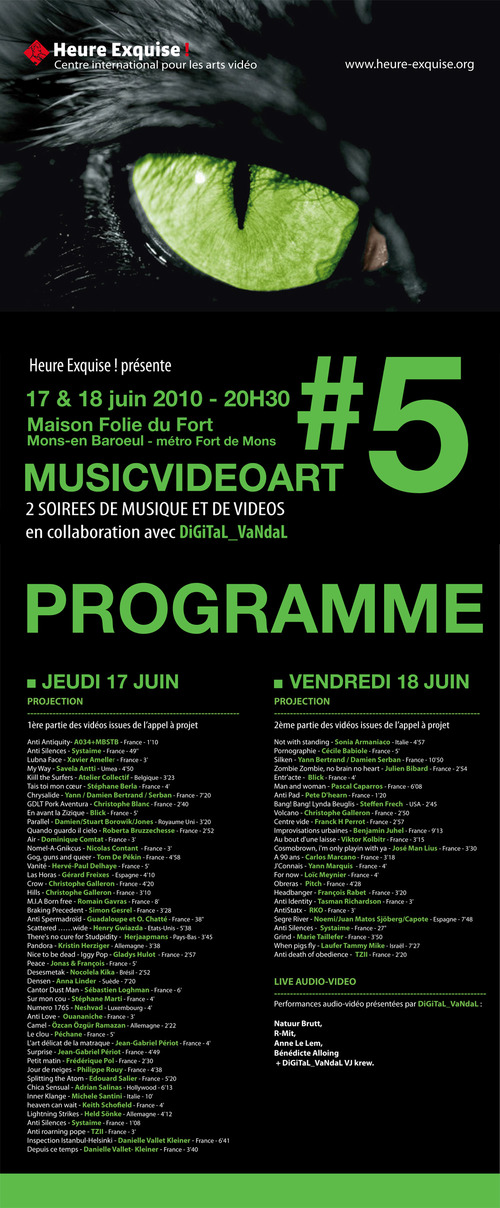 Heure Exquise! Music Video Art Festival Program is out!!